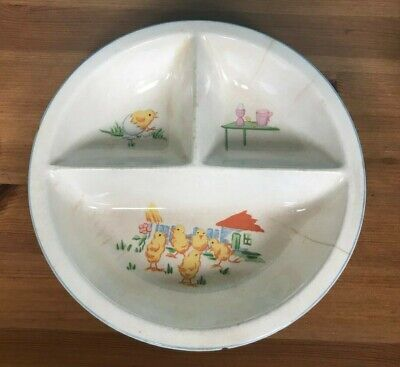 Vintage Chicks & Eggs Baby Food Bowl Dish 3 Compartments Stoneware Easter Spring