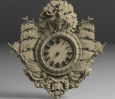 3D STL Models # WALL CLOCK PIRATE & SHIPS # for CNC Aspire Artcam 3D Printer