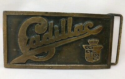 Vintage Cadillac Solid Brass Belt Buckle 1970s Heavy Classic Patina