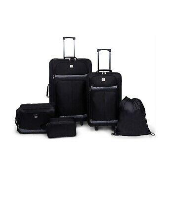 "Protege 5 Piece 2-Wheel Luggage Value Set Black 28"" Travel Bag Vacation Suitcase"