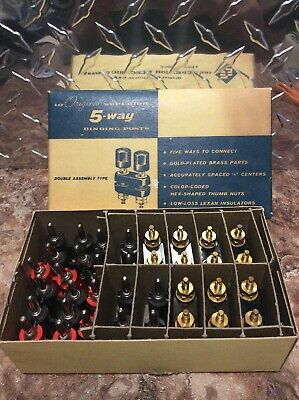 Vintage Superior Electric 5-way Binding Post Lot Of 7 With 11 Dual Banana Plugs