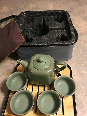 Portable Tea Set - Green Teapot Cups  Chinese / Japanese  Wooden Tray Travel Bag