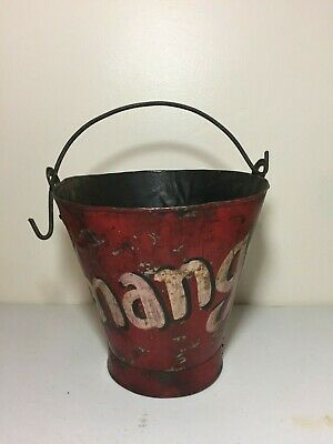 Antique Primitive Mango Metal Bucket Painted Rustic Old Farm Country Pail