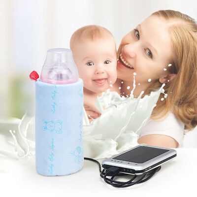 Portable USB Baby Bottle Travel Thermostat Milk Water Bag Warmer CoverPouch Heat