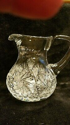 AMERICAN BRILLIANT PINWHEEL Antique Cut Lead Glass Crystal Pitcher LARGE/ESTATE