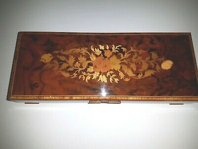 Vintage Inlaid Wood Sorrento Reuge Swiss Movement Music Box Italy