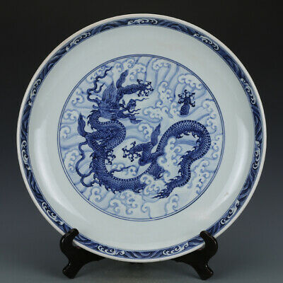 Big Nice Old Chinese Ming Blue White Porcelain Dragon Palte