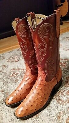 Rios Of Mercedes Full Quill Ostrich Brown Leather R Toe Cowboy Boots Mens 11 5