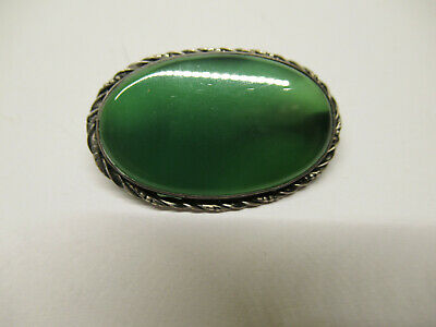 Antique Victorian Sterling Silver Scottish Green Agate Pin Broach Germany