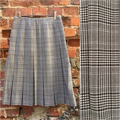 Vintage FLETCHER JONES pleated Houndstooth Checked Pure Wool skirt S-M