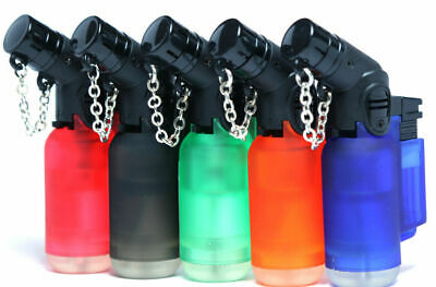 5 Pack 45 Degree Angle Jet Flame Torch Lighter Refillable with safe stop