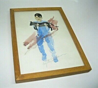 """Rare Original Myrtle Stedman Watercolor Painting """"Boy And His Cat"""" Framed Signed"""