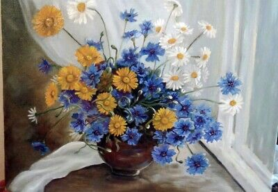 Oil Painting Flowers, Cornflowers, Chamomiles On Canvas 40x50cm