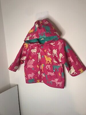 Hatley Girls Farm Animal Pattern Rain Coat (waterproof). 6-12 months 1-2yrs Pink
