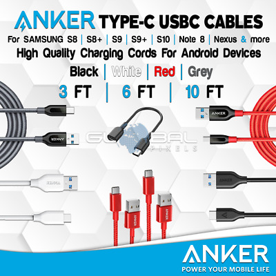 ANKER Type C USBC Braided Cable 3FT/6FT/10FT Samsung S8 S9 Plus USB lot Charger