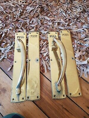 antique old Vintage heavy bronze cinema pub Door pull Handles HUGE 18 inch