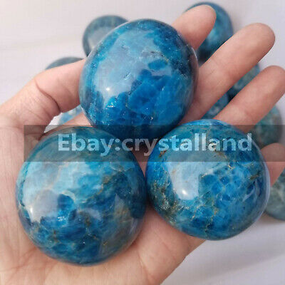 130-170G Natural Polished Blue Apatite Palm Quartz Crystal Mineral Specimen 1PC