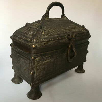 Old or antique brass box or chest for jewelry or coin BUSTER ART