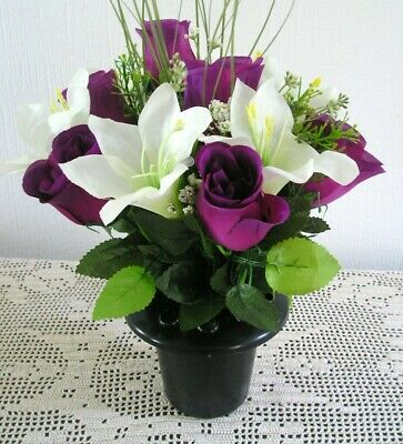 Artificial /Silk Flower Arrangement Grave / Memorial Purple Rose and Lilly