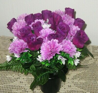 Quality Artificial / Silk Flower Arrangement Grave / Memorial / Crem Pot Purple