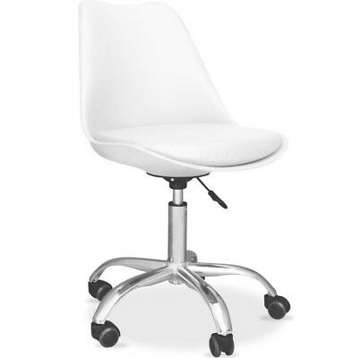 New Modern White Tulip Padded Seat Office Swivel Gas Lift Chair Caster Wheels