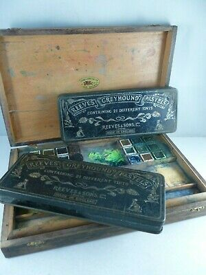 old WINSOR and NEWTON  Artists' watercolour paint work box + REEVES pastel sets