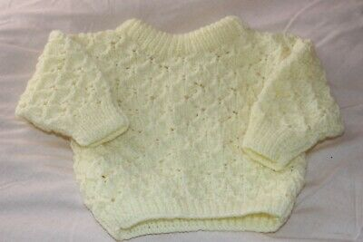 Brand New Hand Knitted Baby Jumper in pale yellow newborn - 0-3 Months
