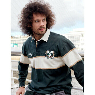 Ireland Striped Long Sleeve Rugby Shirt, Bottle And Natural Colour