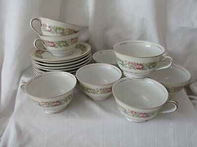Spoto Made in Occupied Japan 1945-52 lot 9 footed cups 10 saucers pink flowers