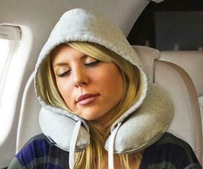 Soft Hooded Travel Pillow U Shape Comfortable Neck Head Support Airplane Cushion