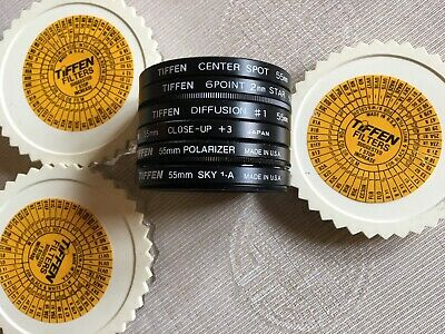 Set of 6 Tiffen 55mm Filters: Center Spot,Diffusion, 6 Point, Close-Up Polarizer