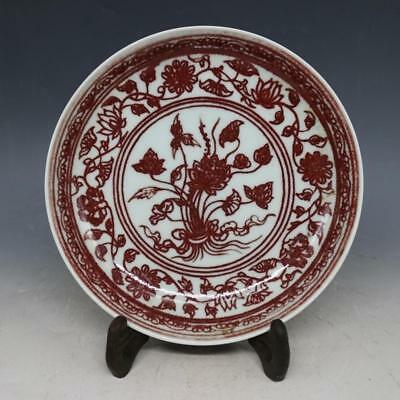 """7"""" China old antique Porcelain qianlong Underglaze red A bunch of lotus plate"""