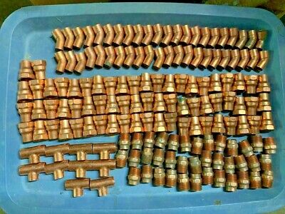 """157-Piece Lot 3/4"""" Copper Sweat Fittings Elbows T's Male & Female  Adapters NEW"""