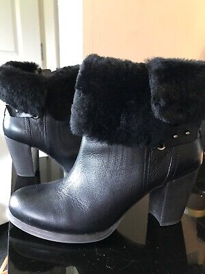 d01d4588a21 UGG BLACK SUEDE Leather VGC Wooden Heel Ankle Boots 7 40 - £24.99 ...