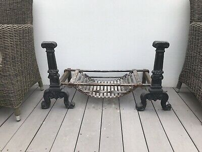 Antique Cast Iron Fire Grate with Dogs