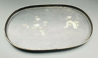 Antique Japanese Black  Lacquer Tray Early 19th Century