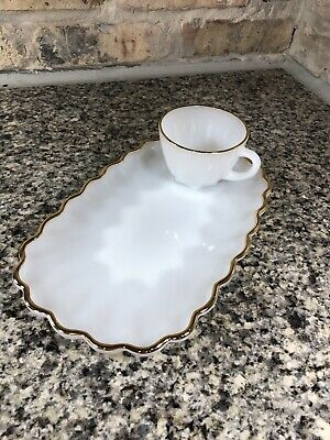 Vintage Anchor Hocking Milk White 2 Piece Snack Set Glass Gold Edge Cup Tray