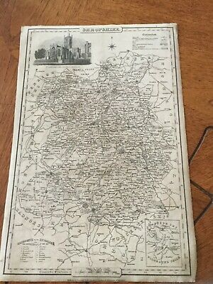 Genuine Original County Map Pigot &co. 1823-8 - Shropshire-Rare