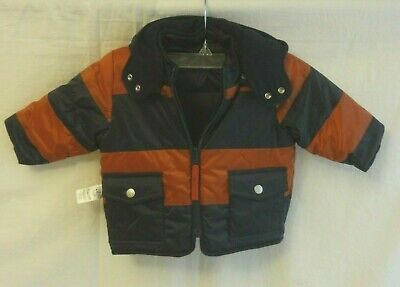 Petit Bateau Baby Boy Hooded Reversible puffer Jacket, Navy  12 Months NEW