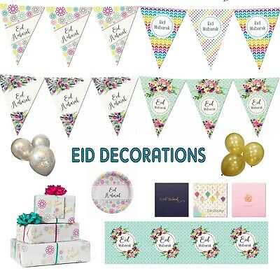 Eid Mubarak Party Decorations Banner Balloons Bunting Cards Flags Hanging Decor