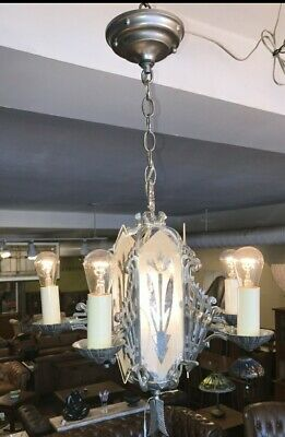 Art Deco 1930's Aluminum Chandalier w/Frosted Glass