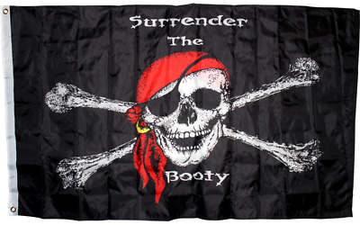 3x5 Pirate Surrender the Booty Flag Super Polyester Grommets