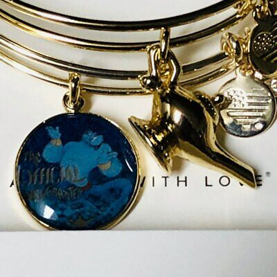 Disney Parks Aladdin Genie & Lamp Exclusive Alex and Ani Double Charm Braclet