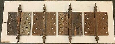 4 Antique Victorian Large Cast Iron Hinges Hardware Ornate
