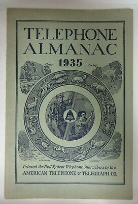 Vintage 1935 TELEPHONE ALMANAC Bell System American Telephone Telegraph Co. RARE