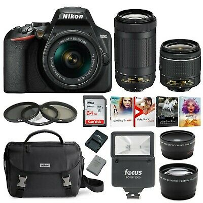 Nikon D3500 DSLR Camera with 18-55 and 70-300mm Lenses and 64GB Accessory Bundle