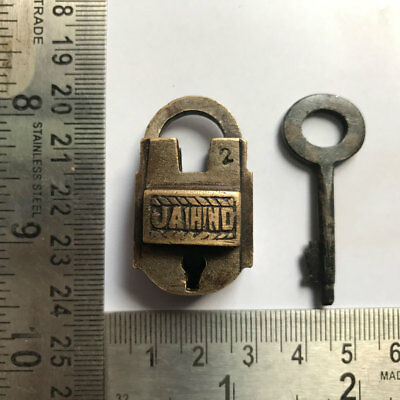 Brass padlock or lock with key old or antique small or miniature JAI HIND