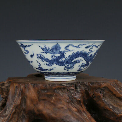 Rare Old Chinese Ming Blue White Porcelain Dragon Bowl