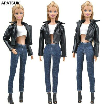 1 Set Leather Coat Doll Clothes Fashion Jeans Pants Short Top Handmade Clothes