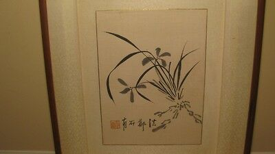 Early & Nice Chinese Scholar Silk Art W/ Calligraphy Painting